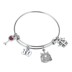 REEBOOO Birthday Gifts For Her Adjustable Stainless Steel Bangle 30TH 40TH 50TH 60TH 30TH Birthday