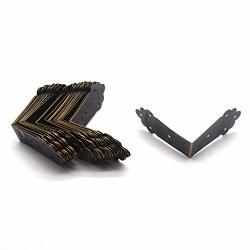 30PCS Tulead Bronze Iron Edge Guard Decorative Corner Brackets Decorative Furniture Corner Edge Brackets 2.2X2.2X1 With Mounting Screws