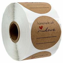 """2"""" Homemade With Love Sticker With Lines For Writing 2"""" Round Homemade With Love Canning Labels 500 Labels Per Roll"""