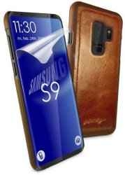 Tuff-Luv Alston Craig Genuine Vintage Leather Magnetic Shell Case For Samsung Galaxy S9 Plus Brown