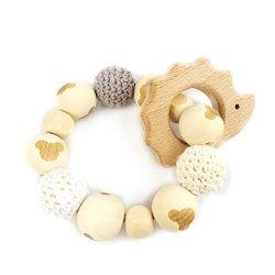 Baby LOVE Hedgehog Wooden Teether Chew Beads Baby Rattle Teether Nattural Raw Crochet Beads Toy Mom Ecofriendly Baby Teething Hedgehog