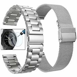 Koreda Compatible With Samsung Galaxy Watch 42MM galaxy Watch ACTIVE ACTIVE2 Bands Sets 20MM Stainless Steel Metal Band + Mesh Loop Replacement Bracelet Strap For Ticwatch