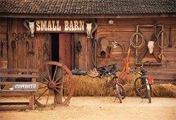 LFEEY 5X3FT Western Cowboys Photography Backdrop Barn Door Back Drop Frontdoor Haystack Wheel Bicycles Photo Background Travel P