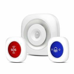 Besmall 3 In 1 Smart Wireless Caregiver Pager Smart Night Light + Doorbell Chime - Sos Alert Button For Emergency Personal Attention Nurse Calling Patient Help