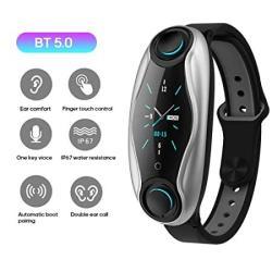 Lfjnet T90 Fitness Bracelet Bluetooth 5.0 With Wireless Earphones IP67 Waterproof Sport Smart Watch Clock For Android Ios Phone Black