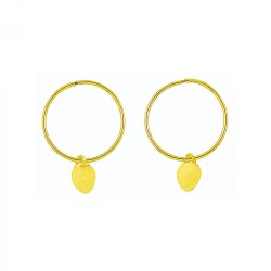 9CT GOLD 15mm Sleeper & Heart Earring