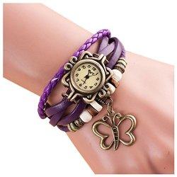 SODIAL Butterfly Pendant Bracelet Watch - Weaving Coils Quartz Analog Vintage Leather Bracelet Ladies Watch Butterfly Purple