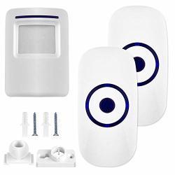 Security Wireless Doorbell Kit With 2 Plug-in Receivers Wireless Doorbell And Door Motion Sensor Detector Door Bell 36 Chime Tunes With 1000 Feet Operating