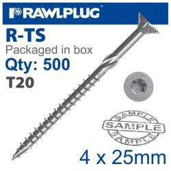 RawlPlug Torx T20 Chipboard Screw 4.0X25MM X500-BOX