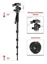 "Professional Heavy Duty 72"" Monopod unipod Dual Optional Head For Sony SEL55210 55-210MM F4.5-6.3"