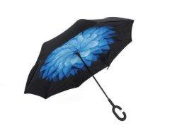 Reversible Umbrella With Design - Blue Peony