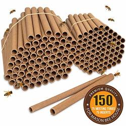 Rivajam Beekeeper Pro Edition New Replacement Nesting Tubes - Natural Refill Tubes For Mason Bee House Hotel - 75 Pack Cardboard