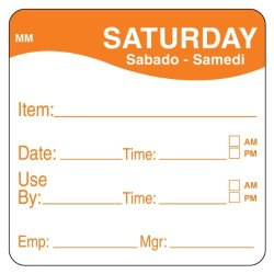 """DayMark Safety Systems Daymark IT1100356 Movemark Day Of The Week Removable Label Saturday Item date use By 2"""" X 2"""" Orange Roll Of 500"""