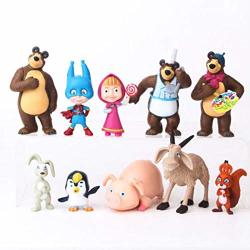ToysOutletUSA Masha And The Bear Playset 10 Pcs Figures Doll Toys Party Favor Cupcake Topper + Bonus Assorted Stickers