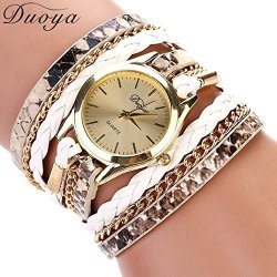 Binmer TM Women Leather Band Wrap Around Analog Quartz Bracelet Wrist Watch Wristwatch White