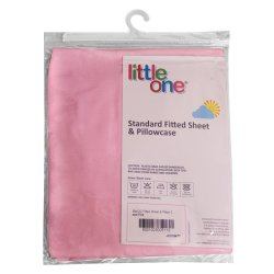 LITTLE ONE - Standard Fitted Sheet And Pillowcase Pink