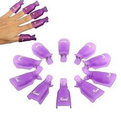 Orino ? Plastic Nail Art Polish Soak Off Remover Wrap Cleaner Clip Cap Clamps Grip Gel Nails Remover Nail Gel Polish Remover Manicures Durable Reusable