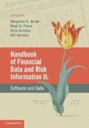 Handbook Of Financial Data And Risk Information II Volume 2 Hardcover New