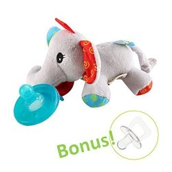 Hombae Ltd. Hombae Baby Pacifier Holder Stuffed Animal For Baby Girls Infant Soothie Pacifier And Teether Holder With Clip Bpa-free Baby Shower Gift For Boys & Girls Elephant