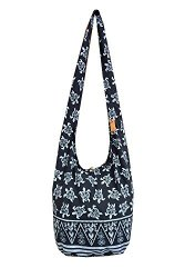 BTP Turtle Sling Crossbody Shoulder Bag Purse Hippie Hobo Thai Cotton Gypsy Bohemian Large Black OW1