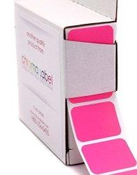 "Chromalabel.com 1"" X 3 4"" Fluorescent Pink Square Color-code Stickers Permanent Adhesive Writable Surface 500 Labels Per Dispenser Box"