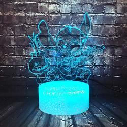Jinlycoo Crack Table Lamp Lilo Stitch Play Guitar With Scrump Cartoon Figure 3D Acrylic LED Safe Of Baby Smart Touch Remote Change 7 Color