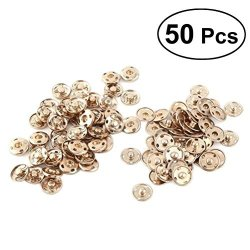 ULTNICE Sew On Snaps Buttons Metal Press Studs Buttons 2 Parts Round Diy Craft Accessory 15MM 50 Sets Golden