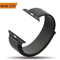 AmBand Apple Watch Sport Loop Band 42MM Lightweight Breathable Nylon Replacement Band For Apple Watch Nike+ Series 1 Series 2 Series 3 Sport Edition-dark Olive