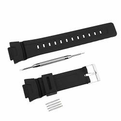 Sing F Ltd 16MM Black Rubber Waterproof Watch Strap Replacement Watch Strap Band Watch Belt For Casio G-shock G101 G100 G2110 G2310