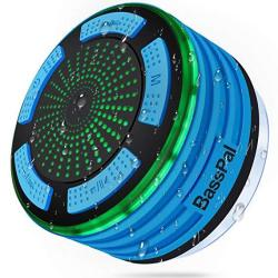 BassPal Shower Speaker Waterpoof IPX7 Portable Wireless Bluetooth Speakers With Radio Suction Cup & LED Mood Lights Super Bass H
