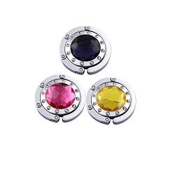 Kuyou Purse Hooks Set Of 3 Pcs Colorful Purse Hooks Crystal Diamond Folding Section Storage Handbag Hook Hanger Holder 3 Pcs Mixed
