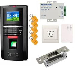 BIO Fingerprint Reader And Rfid Key Fob Door Access Control System & Time Attendance Kits Ansi Strike Lock Usa Use 110V Power Unit