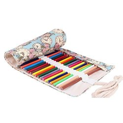 Roll Up Pen Holder Case Cute And Multi-Purpose NO Pencil Included Molshine Handmade Canvas Flowers Style Colored Pencils Wrap36//48//72 Holes 72Holes