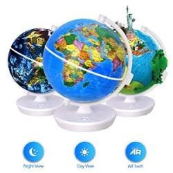Smart World Globe - 2 In 1 Illuminated Globe With Built-in Augmented Reality Technology Earth By Day Constellations By Night Ar