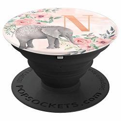 Elephant Watercolor Monogram Name Initial Letter N