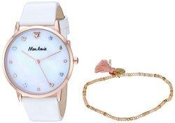 Mon Amie Women's Iconic Health Quartz Watch With Leather Strap Rose Gold-tone White 16.7 Model: CBMA2500