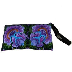 BTP Hmong Wristlet Clutch Hill Tribe Ethnic Embroidered Bag Hippie Boho Hobo Purple Floral Large HMW3