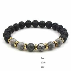 JEWH 9 Colors 8MM Black Lava Stone Beads Bracelets Diy Aromatherapy Essential Oil Diffuser Bracelets White Green Stone Strand Jewelry B