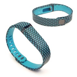Tuff-Luv Large Adjustable Wristband & Clasp for Fitbit Flex Activity Tracker with Checker Design in Turquoise