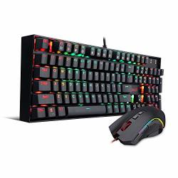 Redragon K551-RGB-BA Mechanical Gaming Keyboard And Mouse Combo Wired USB Rgb LED Backlit 104 Key Illuminated Computer Gaming Keyboard Blue Switches Abs-metal Design +