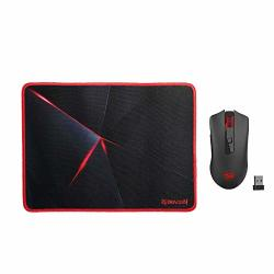 Redragon M652-BA Wireless Gaming Mouse And Mouse Pad Set 2.4G Wireless Optical Mouse With 2400 Dpi And Mouse Pad Combo For Notebook PC Laptop
