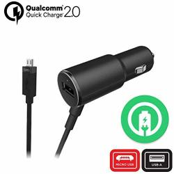 Turbo Fast 25W Car Charger Works For Huawei Y3 2 With Extra USB Port And Long Hi-power Microusb Cable