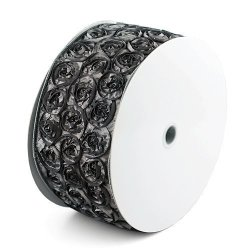 PoshNPretty One Yard Of 4 Inches Grey Wired Edge Rosette Ribbon For Weddings D Cor Baby Shower