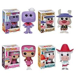 Pop Tv: Hanna-barbera S2 Squiddly Diddly Ricochet Rabbit Penelope Pitstop Quick Draw Mcgraw Vinyl Figures Set Of 4