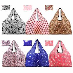 44d9f96a87a Holotap Foldable Reusable Grocery Bags 6 Pack Extra Large Folding Shopping  Tote Bag Fits In Pocket Thicken 300D Nylon Reusable P