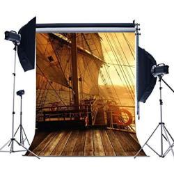 MUEEU 6X9T Pirate Ship Backdrops Ocean Vinyl Wooden Deck Children Kids Birthday Portrait Photo Photography Background Studio Pro
