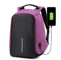 Anti-theft Backpack With USB Charging Port - Purple  4d12bcf7b3945