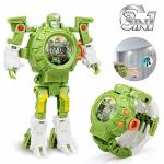 Baztoy Transformers Toys Robot Watch 3 In 1 Projection Kids Digital Watch Deformation Robot Toys For 3 4 5-10 Years Old Boys Gir