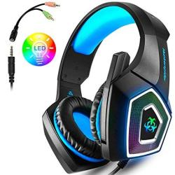 PS4 Gaming Headset Wired PC Gaming Headset With MIC 3 5MM Over-ear Bass  Stereo Control Noise Colourful LED Light For Xbox One S | R1029 00 |