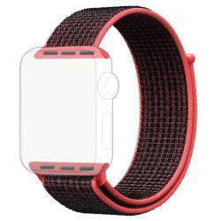 Black Red Apple Watch Strap Band Nylon Loop 38 40MM - Series 1 2 3 4